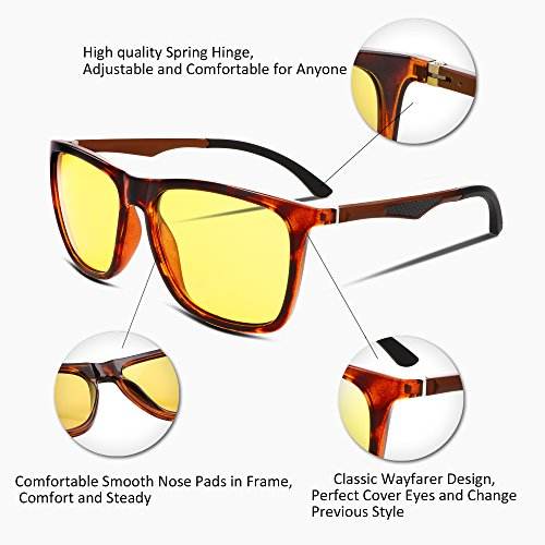 FEISEDY Night Vision HD Driving Glasses Mens Polarized Anti-Glare Eyewear B2293 1 Tortoise
