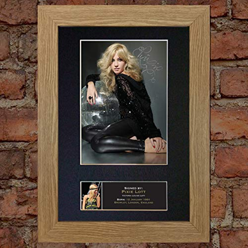 #242 Pixie LOTT Signed Autograph Photo Reproduction Print A4 Rare Perfect Birthday (297 x 210mm) (Oak Veneer Frame)
