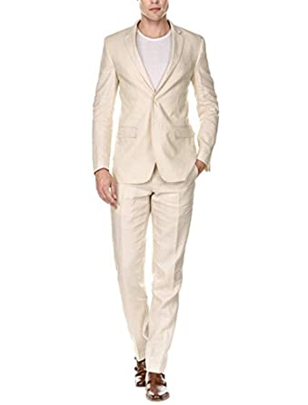 b50f025ca8e0 Jingmo Summer Holidays Casual Linen Suit 2 Pieces Slim Fit Suits Jacket+ Pants Notched Collar