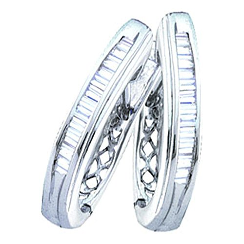 14k White Gold Baguette Diamond Hoop Earrings 1.00 Cttw - 14k Diamond Baguette Gold Hoop