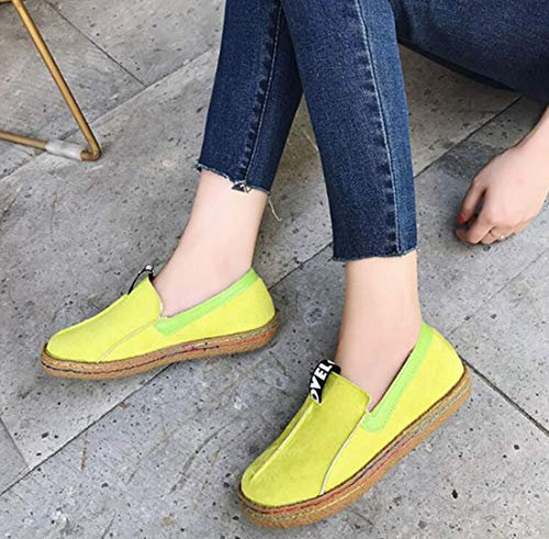 Shoes Students DECJ Yellow Size Girls Flat Sets Of Shoes 5UK Lazy Big Women's Autumn Shoes Shoes Large Single Black Peas Feet Small Suede 6 Women's PCC5SRwq