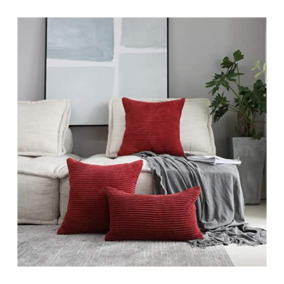 Home Brilliant 2 Packs Decorative Square Pillows Cover Outdoor Throw Pillows Cushion Covers for Chair, 16 x 16 inches, 40cm, Dark Red - FEATURES: Color: Burgundy. Measures: 16x16 inch (40x40cm), tailored for 16x16 inch insert. PACKAGE: include 2 pc cushion cover. No cushion insert. WASHING GUIDE: Machine Wash Cold Separately, Gently Cycle Only, No Bleach, Tumble Dry Low. - patio, outdoor-throw-pillows, outdoor-decor - 51xnE3CqJUL. SS570  -