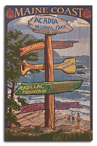 Acadia National Park, Maine - Destinations Sign (10x15 Wood Wall Sign, Wall Decor Ready to Hang)