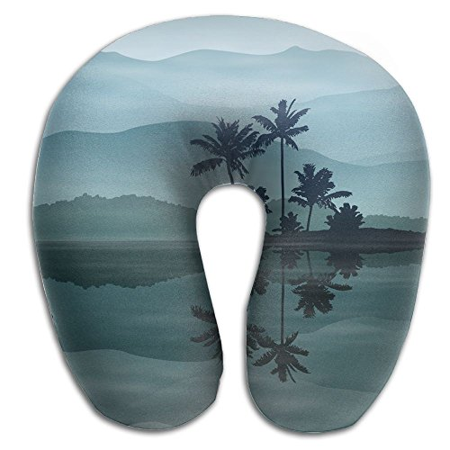 SARA NELL Memory Foam Neck Pillow Hawaii Sea And Palm Trees U-Shape Travel Pillow Ergonomic Contoured Design Washable Cover For Airplane Train Car Bus Office by SARA NELL