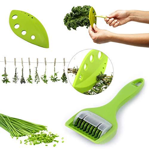 FRESH HERB COLLARD GREENS KALE CHARD STRIPPER CUTTER MINCER | (2 PCS SET) Looseleaf Stripping Scissors Tool | Shredder, Razor Kitchen Cooking Gadget | Less Mess