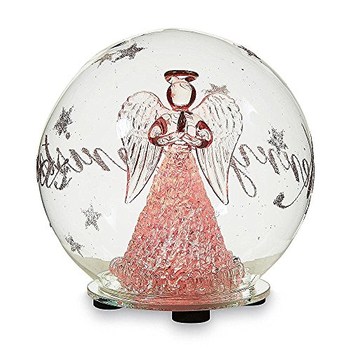 """5"""" Christmas Hand Blown Glass Snowglobe With Color Changing LED Lights (Angel)"""