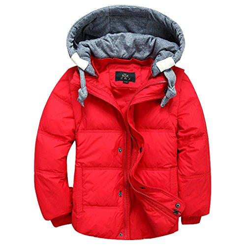 Desirca Children Boys Down Parka Coats Down Jacket Hooded Outerwear Boys 4-12T Red ()