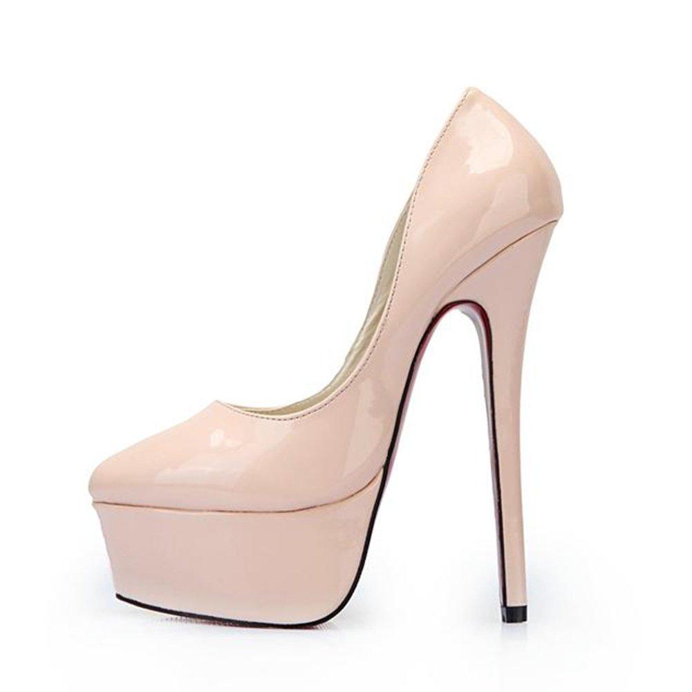 11 B US Cross Leeminus Plus Size High Heels Pumps Shoes for Women,Nude Leather M