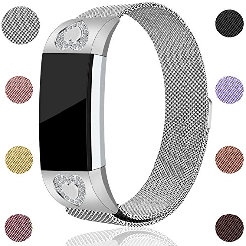Maledan for Fitbit Charge 2 Bands, Stainless Steel Milanese Loop Metal Replacement Accessories Bracelet Strap with Magnet Lock for Fitbit Charge 2 HR, Silver, Large