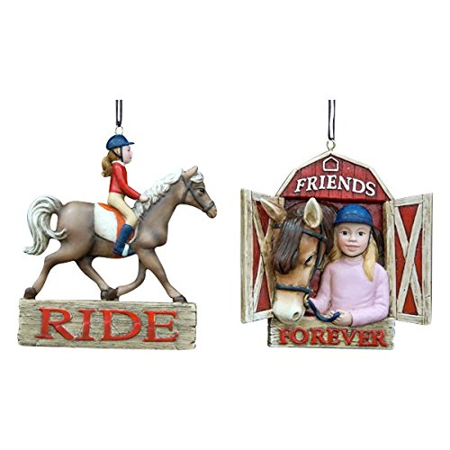Equestrian Girl Riding Horse Ornament Set Of 2 (Girl Ornament 2)