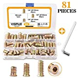 """VIGRUE 81PCS 1/4""""-20 x 15mm/20mm/25mm Threaded Inserts Nuts for Wood Zinc Plated Carbon Steel Hex Socket Drive Furniture Flanged Screw-in Nut Assortment Set with One Wrench"""