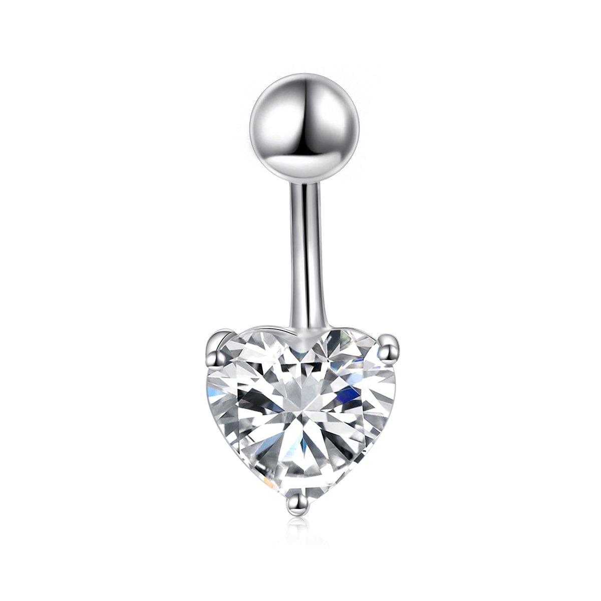 DAOCHONG Sterling Silver Belly Button Rings for Women Girl Navel Rings CZ Body Piercing by DAOCHONG