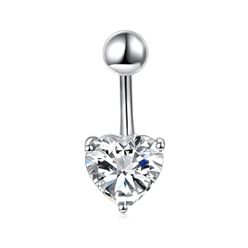 Daochong Sterling Silver Belly Button Rings For Women Girl Navel Rings Cz Body Piercing