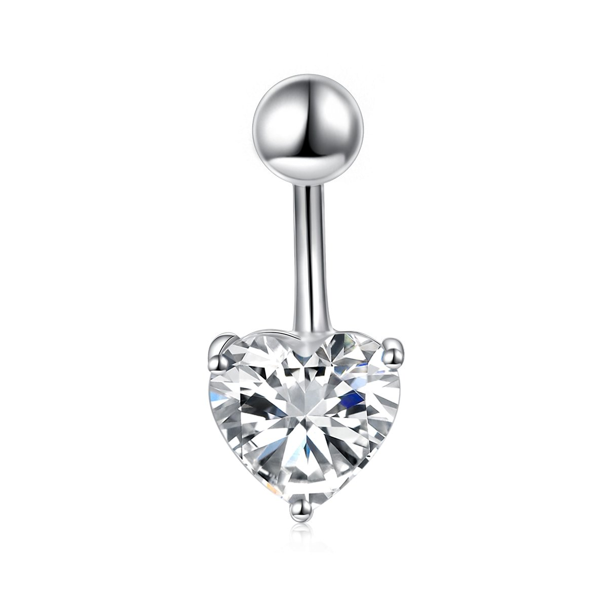Flyow Sterling Silver Belly Button Rings for Women Girl Navel Rings CZ Body Piercing