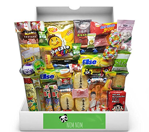 (Over-sized Asian Dagashi Snack Box (48 individually wrapped snacks and treats) Assortment of Japanese Candy, Korean Snacks and More! | Gift Care Package | Custom Giftwrap)