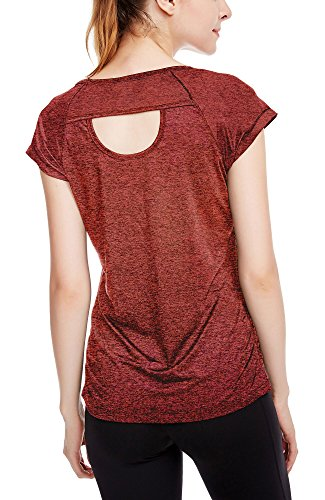 icyzone Workout Running Shirts for Women - Fitness Gym Yoga Exercise Short Sleeve T Shirts Open Back Tops (L, Burnt Ochre) -