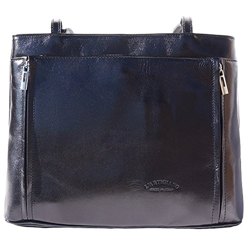 Leather Shoulder Bag With Double Handle 215 Black
