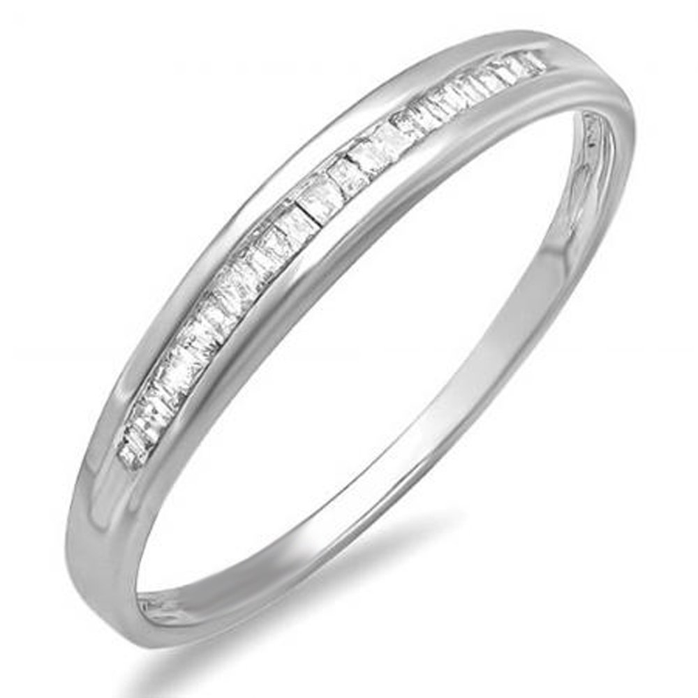 0.12 Carat (Ctw) Sterling Silver Baguette Cut Diamond Ladies Dainty Anniversary Wedding Band Stackable Ring (Size 7)