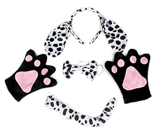 Petitebella Headband Bowtie Tail Gloves Unisex Adult 4pc Costume (Dalmatians (Black Dog Costume Ears)