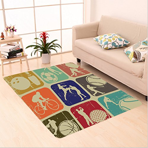 Nalahome Custom carpet orted Sports Banners in Vintage Grunge Effect Tennis Soccer Bowling Sports Pub Theme Decor Multi area rugs for Living Dining Room Bedroom Hallway Office Carpet (6.5' X 10') by Nalahome