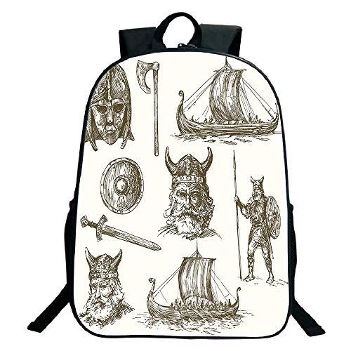 3D Print Design Black School Bag,backpacksViking,Ancient War Figures Sword Shield and Warriors Mask Dragon Head Ship Medieval,Dark Brown White,for Kids,Personalized Design.15.7