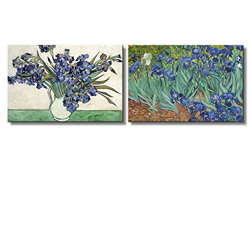 Irises and Roses Irises by Vincent Van Gogh Oil Painting Reproduction in Set of 2 x 2 Panels