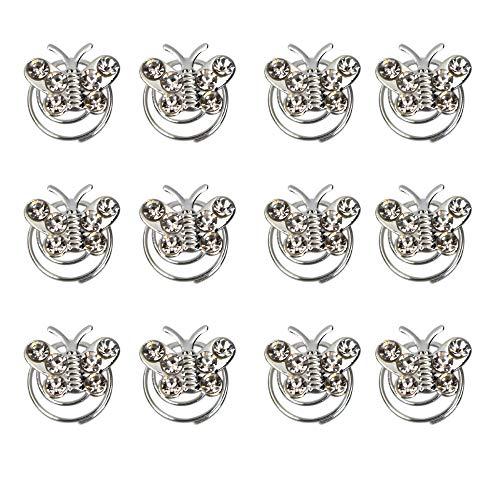 - 12Pcs Spiral Hair Pins Swirl Hair Twists Coils Hair Clip Accessories for Wedding, Prom, Party and Special Event (butterfly)