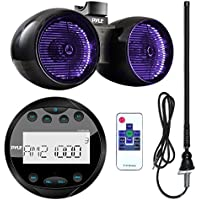 Pyle PLMR91UB Waterproof Bluetooth Marine Gauge Style MP3 Media Receiver Bundle Combo With 6.5 Inch 400 Watt Dual Wakeboard Multi Color LED Light Boat Tower Speakers + Enrock 22 AM/FM Radio Antenna