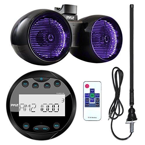 Pyle PLMR91UB Waterproof Bluetooth Marine Gauge Style MP3 Media Receiver Bundle Combo With 6.5