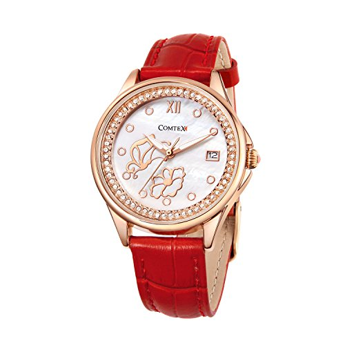 Comtex Watch Women Leather Waterproof Quartz Ladies Wrist Watches with Red Leather Rose Gold Case Butterfly Dance with Flower Dial ()