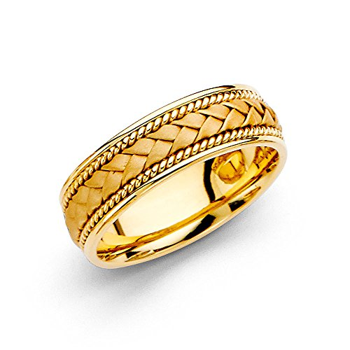Wedding Ring Solid 14k Yellow Gold Band Rope Braided Design Comfort Fit Satin Style Men Women 6 mm Size 6 by ZenJewels