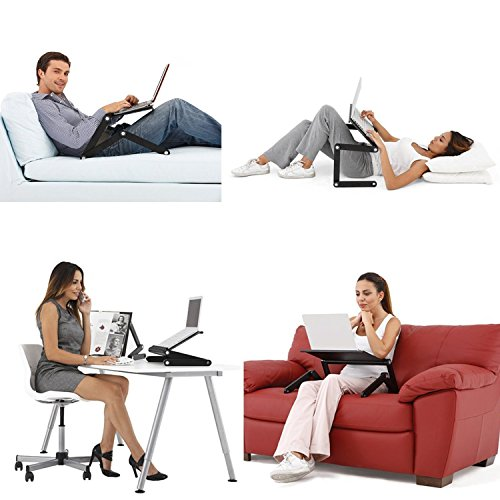 Desk York Vented Laptop Stand - in Bed,Couch,Sofa or Recliner-Great Birthday Gift for Friends Men Women Student-Book Reading-Foldable Computer Stand for Office-Lap Tray- Basic Black by Desk York (Image #9)