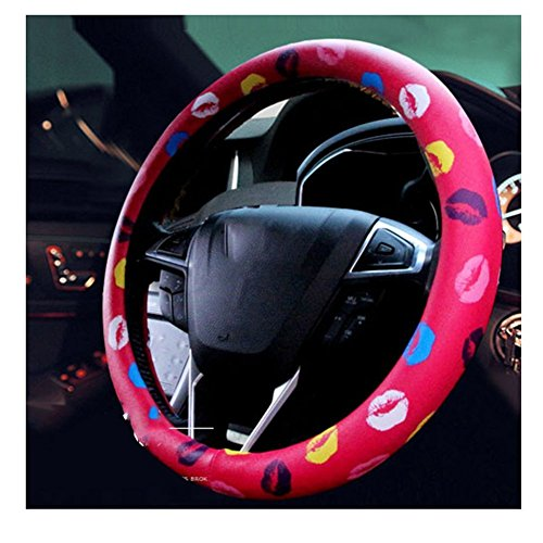 Sino Banyan Lips Car Steering Wheel Cover Wrap Car Interior Trim,Advanced Cute,Red