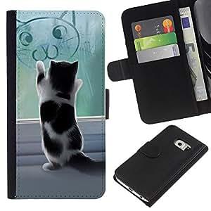 Protector de cuero de la PU de la cubierta del estilo de la carpeta del tirón BY RAYDREAMMM - Samsung Galaxy S6 EDGE - Lindo gatito jugando