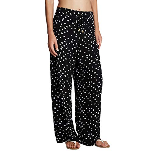 〓COOlCCI〓Womens Polka Dots Cotton Pajama Pants Wide Leg Sleepwear Casual Loose Drawstring Palazzo Lounge Pants Black