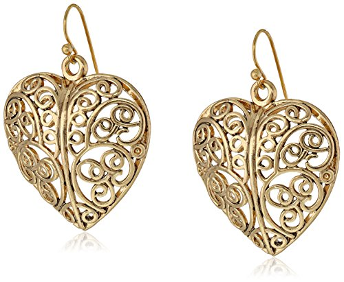 1928 Jewelry Gold-Tone Puffed Filligree Heart Earrings Filligree Pattern