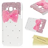 Galaxy Grand Prime Case,Samsung G530H Case - Mavis's Diary 3D Handmade Bling Cute Pink Bow with Shiny Crystal Sparkle Diamonds Gems Lovely Clear Cover Hard PC Case for Samsung Galaxy Grand Prime G530