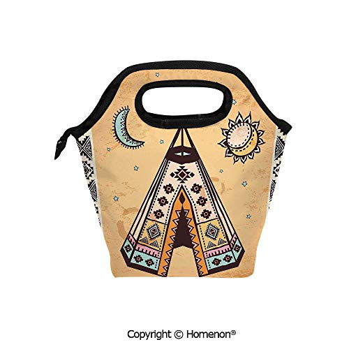 Insulated Neoprene Soft Lunch Bag Tote Handbag lunchbox,3d prited with Ethnic Tent with Ancient Symbols Cultural Unique Bohemian Free Spirit,For School work Office Kids Lunch Box & Food Container