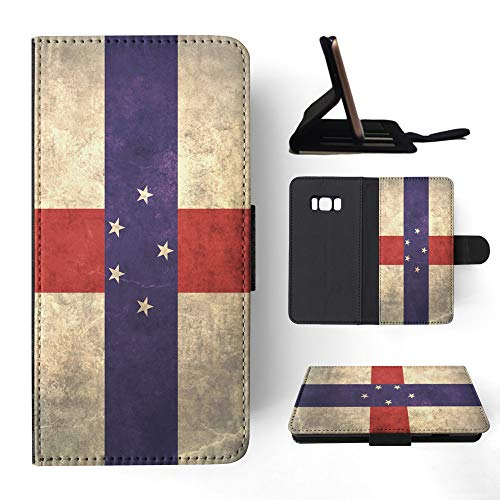 Note Netherlands Antilles (Netherlands Antilles Flag Flip Wallet Phone Case Cover for Samsung Galaxy S8)