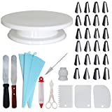 Homeries Cake Decorating Supplies Kit, 36 Piece Set, Turntable, Icing Smoothers, Spatula, Stainless Steel Icing Tips, Best for Cake Decorating and Display