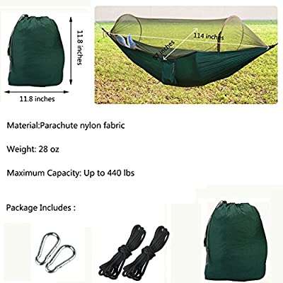 WOVTE Outdoor Camping Hammock with Mosquito Net Portable Folding Parachute Nylon Fabric Double Jungle Hammock Tent, Ultralight & Quality Comfort for Backpacking, Hiking, Outdoors, Camping and Travel