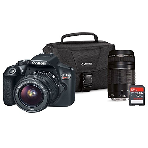 Canon 1159C033 EOS Rebel T6 DSLR Camera 18MP EF-S 18-55mm is, EF75-300 III Lens