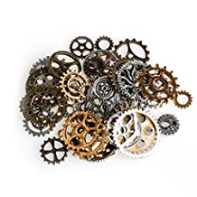 LING'S SHOP 42Pcs Mixed Style Silver Bronze Metal Alloy Mechanical Steampunk Cogs & Gears Pendants Jewelry Findings Clock Watch Wheel Gear Charms DIY Craft