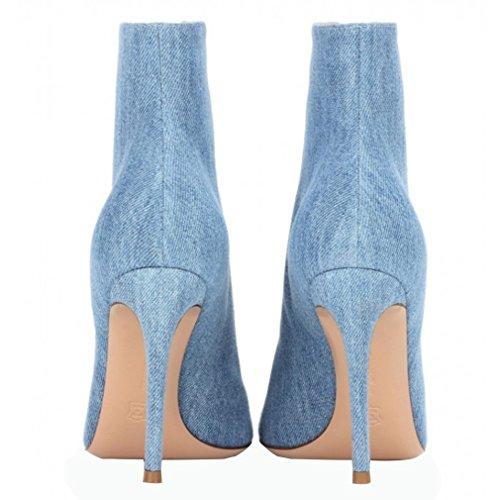 ENMAYER Frauen Wildleder Materialien Stiefeletten High Heels Peep Toe Cross-gebundene Schuhe Dunkelblau