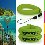 iGadgitz 2 Pack Standard Green Waterproof Floating Wrist Strap suitable for Pentax WG-1, WG-2, W20, W30, W60, W80 & W90 Cameras