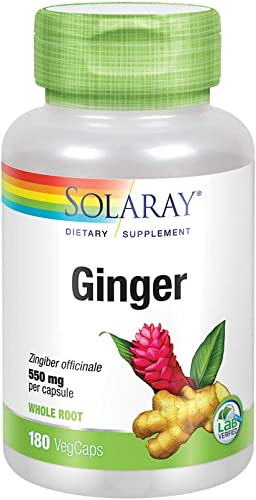 Solaray Ginger Root Capsules, 550 mg, 180 Count