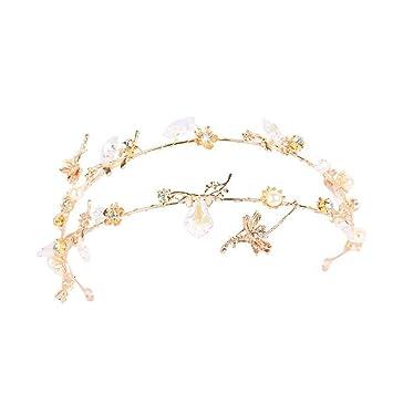 exquisite handwerkskunst elegante Form retro MYJ Braut Goldenes Stirnband, Sterne Glänzende Fee Fan ...