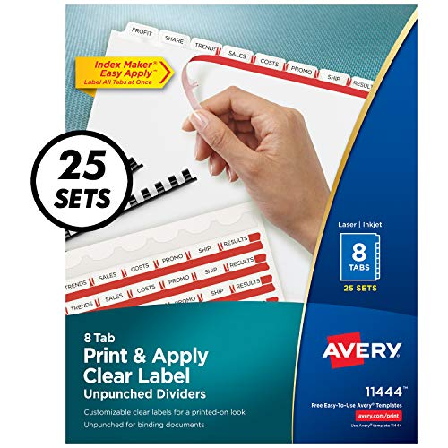 Avery 8-Tab Unpunched Binder Dividers, Easy Print & Apply Clear Label Strip, Index Maker, White Tabs, 25 Sets (11444) ()