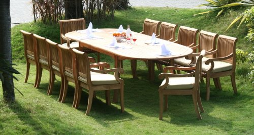 Double Extension Dining Table (New 13 Pc Luxurious Grade-A Teak Dining Set - 117