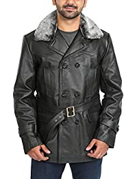 "<span class=""a-offscreen"">[Sponsored]</span>Mens Double Breasted Real Leather Military Style Jacket Fur Collar Mike Black"